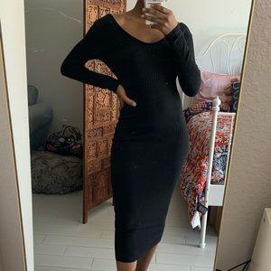 NWOT Black Midi Dress